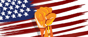 USA America independence hand fist in with flag concept illustration of nationalism patriotism. Vector Royalty Free Stock Photos
