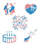 USA America National Patriotic Holiday Party Symbols Collection. USA America National Patriotic Holiday Party Symbols Vector Collection Set vector illustration