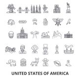 Usa, america, new york, statue of liberty, united states, famous landmarks, sights line icons. Editable strokes. Flat Stock Photography