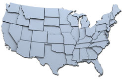 USA America states national map. Map of the 48 continental USA states raised with clipping-path stock illustration