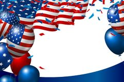 USA or american flag and balloon on white background vector illustration stock images