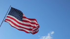 USA American Flag. American Flag blowing in the wind with a blue sky background. USA American Flag. Waving United states of America famous flag in front of blue stock video footage