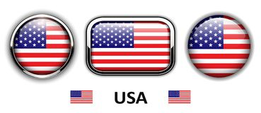 USA, American flag buttons Royalty Free Stock Photos
