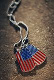 American flag dog tags background. USA American flag dog tags background Stock Photo