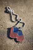 American flag dog tags background. USA American flag dog tags background Stock Images