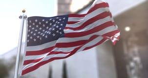 USA or American Flag flagstaff Slow motion seamless loop