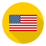 USA American flag icon with long shadow Royalty Free Stock Photography