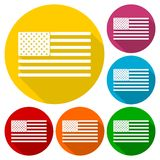 USA American flag icons set with long shadow Royalty Free Stock Images