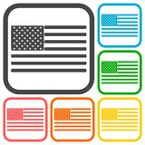 USA American flag icons set Royalty Free Stock Images