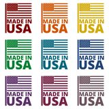 USA American flag, Made in USA, icons set Stock Photography