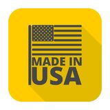 USA American flag, Made in USA, icon with long shadow Stock Photos