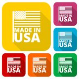 USA American flag, Made in USA, icons set with long shadow Royalty Free Stock Photos
