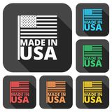 USA American flag, Made in USA, icons set with long shadow Royalty Free Stock Image