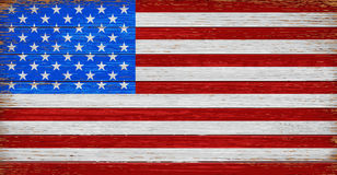 USA, American flag painted on old wood plank background. Realistic vector Royalty Free Stock Photos