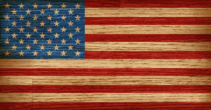 USA, American flag painted on old wood plank background. Realistic vector Stock Images