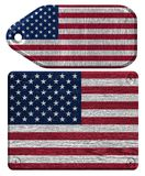 Usa flag. USA, American flag painted on wooden tag Stock Images