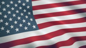 USA American Flag. Seamless Looping Animation. USA flag waving in the wind.  stock footage