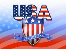 USA American Flag and Shield Background Stock Photo