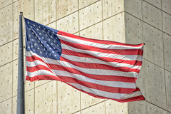 Usa American flag stars weaving in new york city. Usa American flag stars and stripes while weaving royalty free stock images