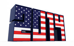 USA in 2014. American flag on 2014 text. 3d rendered illustration stock illustration