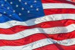 Usa American flag with visa passport stamp Stock Photo