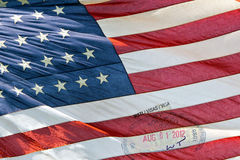 Usa American flag with visa passport stamp Royalty Free Stock Images