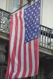 Usa American flag waving from italian balcony Stock Photo