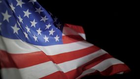 USA American flag waving in the wind, slow motion.  stock video footage
