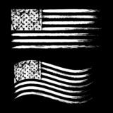 USA American grunge flag set, white isolated on black background, illustration. USA American grunge flag set, retro flags, white isolated on black background vector illustration
