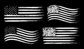 Free USA American Grunge Flag Set, White Isolated On Black Background, Vector Illustration. Stock Photography - 129229912