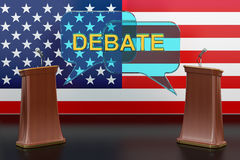 USA american presidential debate concept with microphones  Stock Photo