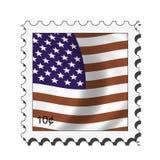Usa american stamp. American flag stamp Stock Illustration