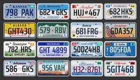 USA American states vehicle registration plates stock illustration