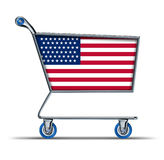 USA american trade deficit imports balance. USA and american consumer symbol of economy prices represented by a shopping cart Stock Photos