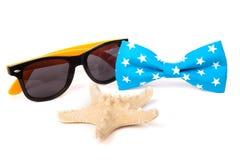USA-amerikanische Flagge auf der Fliege, den Starfish und der Sonnenbrille lokalisiert Lizenzfreie Stockfotos