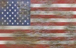 USA amerikanska flaggan som målas på gammalt trä arkivfoton