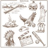 USA Ameryka podróży nakreślenia wektorowi symbole Royalty Ilustracja