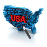 USA analysis. Map of USA formed by names of major cities, with magnifying glass, 3d render Royalty Free Stock Image