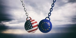 USA And EU Flags Wrecking Balls Swinging On Blue Cloudy Sky Background. 3d Illustration Royalty Free Stock Photos