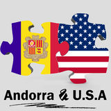 USA and Andorra flags in puzzle Royalty Free Stock Photography