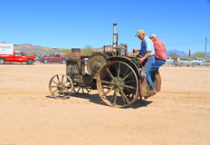 USA: Antique Tractor -  Driving a 1925 Rumely Oil Pull Tractor Royalty Free Stock Photography