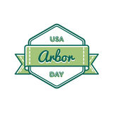 USA Arbor day greeting emblem Royalty Free Stock Images