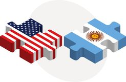 USA and Argentina Flags in puzzle Stock Photography