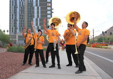 USA, Arizona: ASU Dixie Combo - Cheering Fans Stock Photos