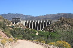 USA, Arizona: Bartlett Lake Dam and Verde River Bed Stock Photography