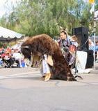 USA, Arizona: Buffalo and Indian - A Buffalo Tribute Dance Stock Photo