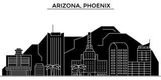 Usa, Arizona, Phoenix architektury miasta wektorowa linia horyzontu, podróż pejzaż miejski z punktami zwrotnymi, budynki, odosobn Zdjęcia Stock
