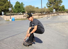 USA, Arizona: Skateboarder - Riding a Bowl Royalty Free Stock Images