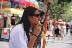 USA, Arizona/Tempe Festival of the Arts: Andes Cosmos on Pan Flute Stock Photography