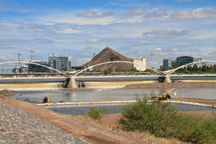 USA, AZ/Tempe: Salt River with Panorama of Tempe Stock Photos